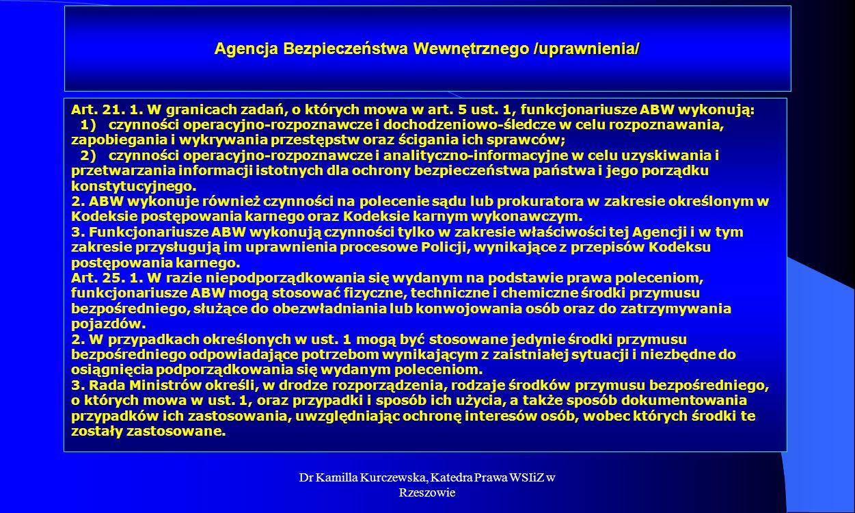 Dr Kamilla Kurczewska, Katedra Prawa WSIiZ w Rzeszowie Agencja Bezpieczeństwa Wewnętrznego /uprawnienia/ Art. 21. 1. W granicach zadań, o których mowa