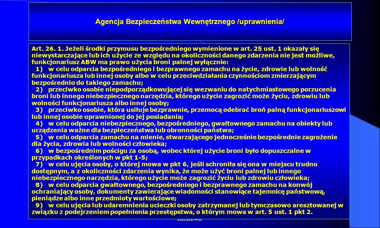 Dr Kamilla Kurczewska, Katedra Prawa WSIiZ w Rzeszowie Agencja Bezpieczeństwa Wewnętrznego /uprawnienia/ Art. 26. 1. Jeżeli środki przymusu bezpośredn