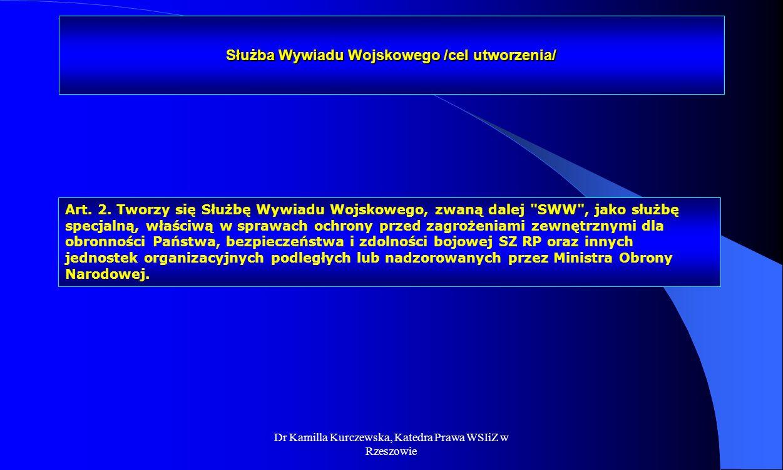 Dr Kamilla Kurczewska, Katedra Prawa WSIiZ w Rzeszowie Służba Wywiadu Wojskowego /cel utworzenia/ Art. 2. Tworzy się Służbę Wywiadu Wojskowego, zwaną