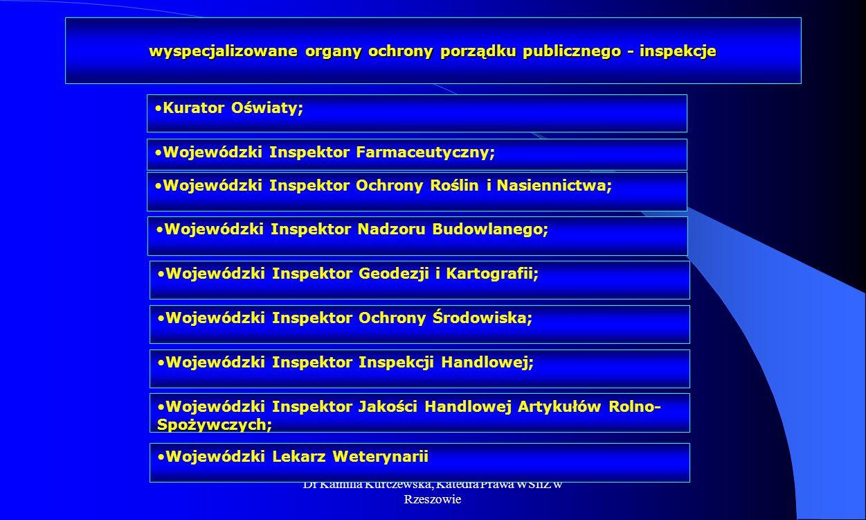 Dr Kamilla Kurczewska, Katedra Prawa WSIiZ w Rzeszowie wyspecjalizowane organy ochrony porządku publicznego - inspekcje Kurator Oświaty; Wojewódzki In