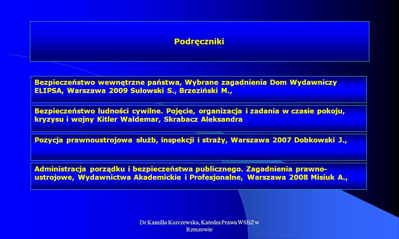 Dr Kamilla Kurczewska, Katedra Prawa WSIiZ w Rzeszowie Podręczniki Bezpieczeństwo ludności cywilne. Pojęcie, organizacja i zadania w czasie pokoju, kr