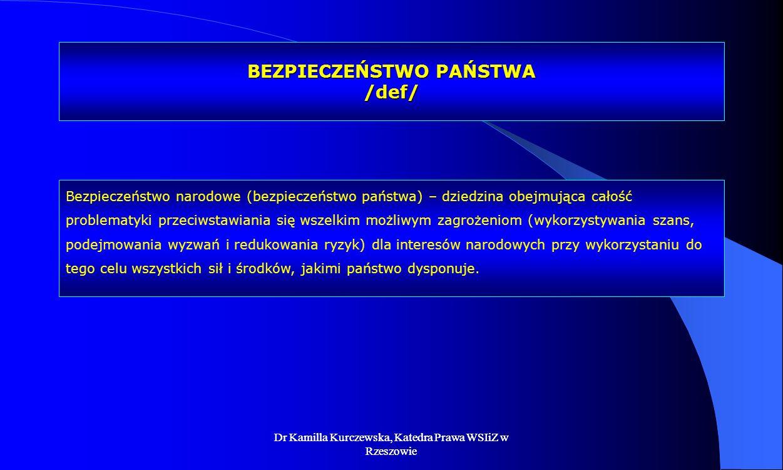 Dr Kamilla Kurczewska, Katedra Prawa WSIiZ w Rzeszowie BEZPIECZEŃSTWO PAŃSTWA /def/ Bezpieczeństwo narodowe (bezpieczeństwo państwa) – dziedzina obejm