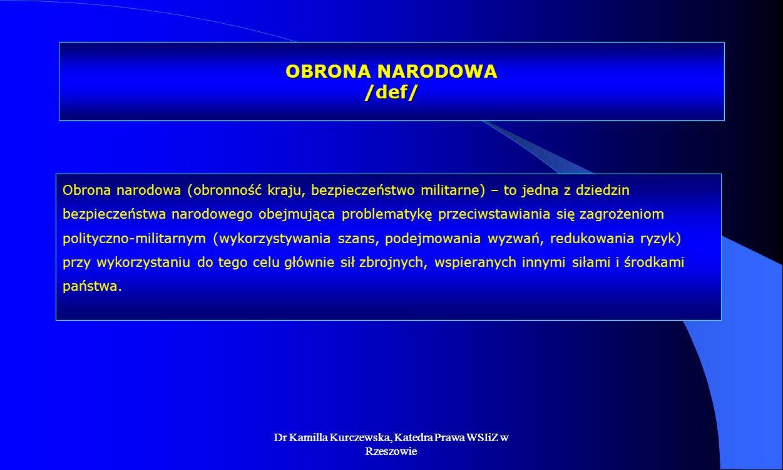 Dr Kamilla Kurczewska, Katedra Prawa WSIiZ w Rzeszowie OBRONA NARODOWA /def/ Obrona narodowa (obronność kraju, bezpieczeństwo militarne) – to jedna z