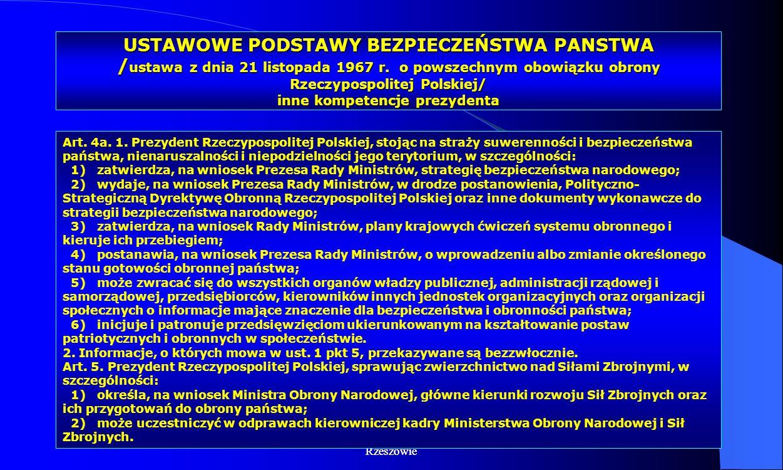 Dr Kamilla Kurczewska, Katedra Prawa WSIiZ w Rzeszowie USTAWOWE PODSTAWY BEZPIECZEŃSTWA PANSTWA / ustawa z dnia 21 listopada 1967 r. o powszechnym obo