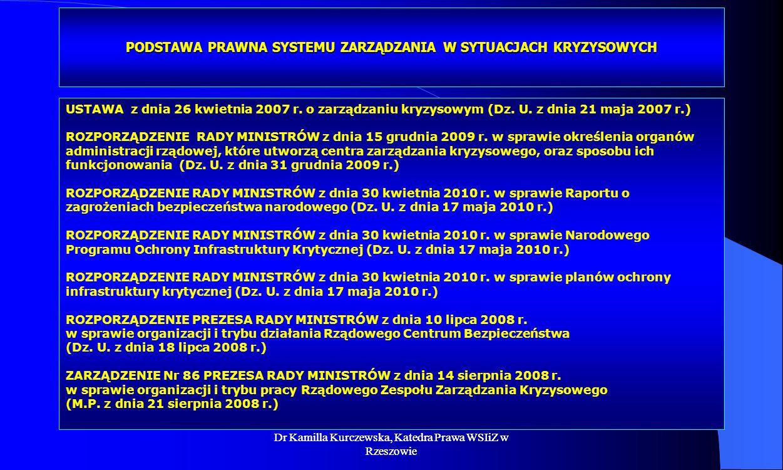Dr Kamilla Kurczewska, Katedra Prawa WSIiZ w Rzeszowie PODSTAWA PRAWNA SYSTEMU ZARZĄDZANIA W SYTUACJACH KRYZYSOWYCH USTAWA z dnia 26 kwietnia 2007 r.