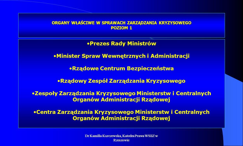 Dr Kamilla Kurczewska, Katedra Prawa WSIiZ w Rzeszowie ORGANY WŁAŚCIWE W SPRAWACH ZARZĄDZANIA KRYZYSOWEGO POZIOM 1 Prezes Rady Ministrów Minister Spra