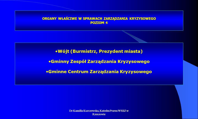 Dr Kamilla Kurczewska, Katedra Prawa WSIiZ w Rzeszowie ORGANY WŁAŚCIWE W SPRAWACH ZARZĄDZANIA KRYZYSOWEGO POZIOM 4 Wójt (Burmistrz, Prezydent miasta)