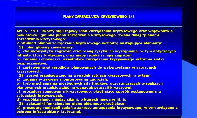 Dr Kamilla Kurczewska, Katedra Prawa WSIiZ w Rzeszowie PLANY ZARZĄDZANIA KRYZYSOWEGO 1/1 Art. 5. (12) 1. Tworzy się Krajowy Plan Zarządzania Kryzysowe