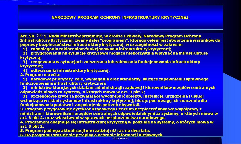 Dr Kamilla Kurczewska, Katedra Prawa WSIiZ w Rzeszowie NARODOWY PROGRAM OCHRONY INFRASTRUKTURY KRYTYCZNEJ, Art. 5b. (14) 1. Rada Ministrów przyjmuje,