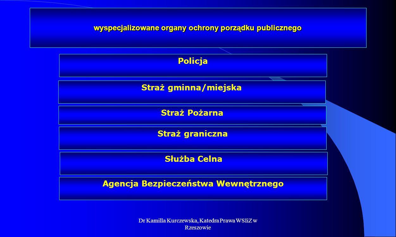 Dr Kamilla Kurczewska, Katedra Prawa WSIiZ w Rzeszowie wyspecjalizowane organy ochrony porządku publicznego Straż gminna/miejska Straż Pożarna Straż g