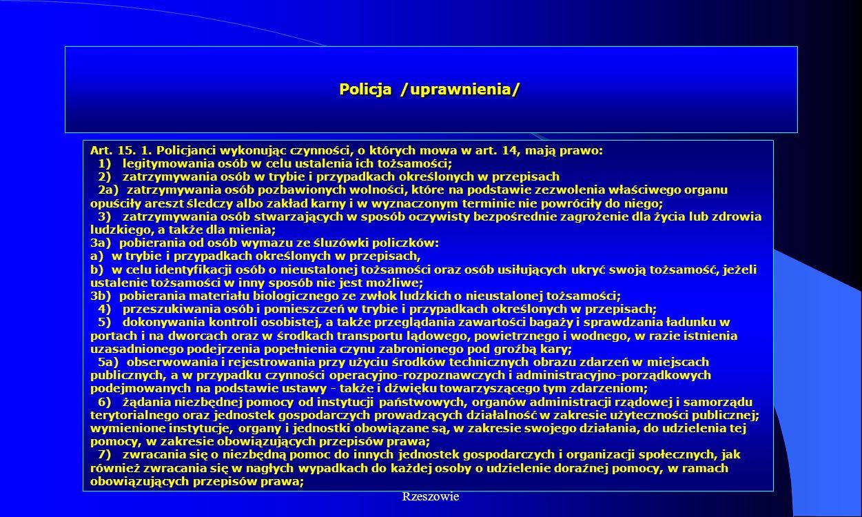 Dr Kamilla Kurczewska, Katedra Prawa WSIiZ w Rzeszowie Policja /uprawnienia/ Art. 15. 1. Policjanci wykonując czynności, o których mowa w art. 14, maj