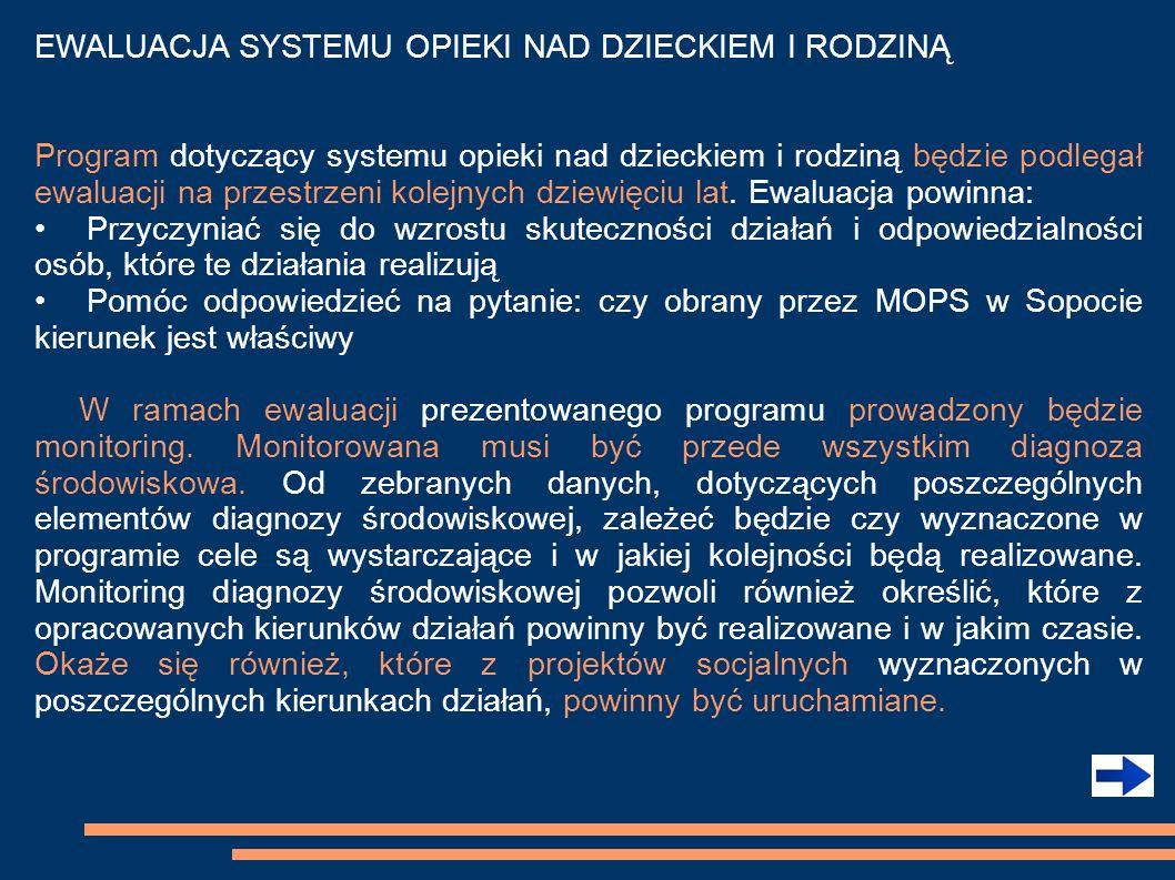 EWALUACJA SYSTEMU OPIEKI NAD DZIECKIEM I RODZINĄ Program dotyczący systemu opieki nad dzieckiem i rodziną będzie podlegał ewaluacji na przestrzeni kol