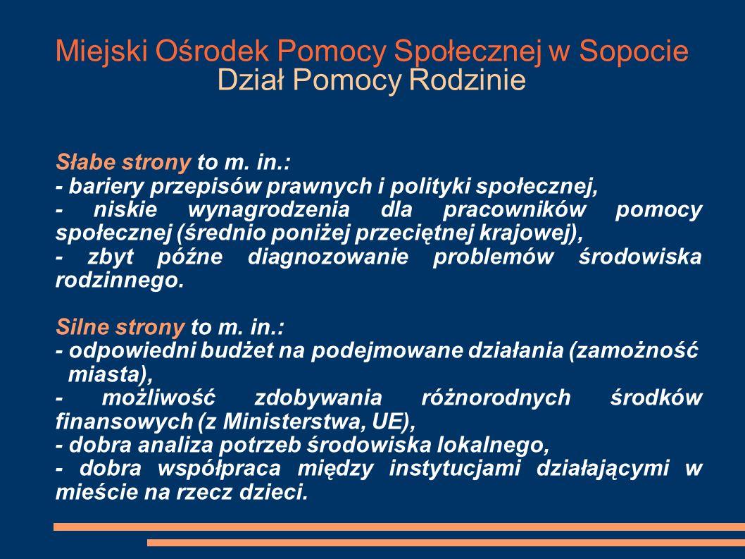 Miejski Ośrodek Pomocy Społecznej w Sopocie Dział Pomocy Rodzinie Problemy dotyczące funkcjonowania rodzin w Sopocie (2001-2005) M.
