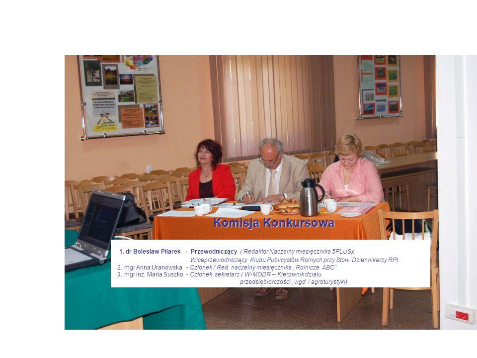 Komisja Konkursowa 1. dr Bolesław Pilarek - Przewodniczący ( Redaktor Naczelny miesięcznika 5PLUSx Wiceprzewodniczący Klubu Publicystów Rolnych przy S