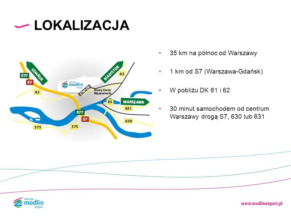 35 km na północ od Warszawy 1 km od S7 (Warszawa-Gdańsk) W pobliżu DK 61 i 62 30 minut samochodem od centrum Warszawy drogą S7, 630 lub 631