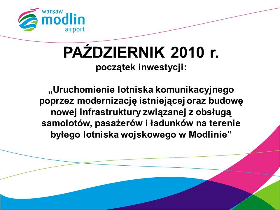 PAŹDZIERNIK 2010 r. początek inwestycji: Uruchomienie lotniska komunikacyjnego poprzez modernizację istniejącej oraz budowę nowej infrastruktury związ