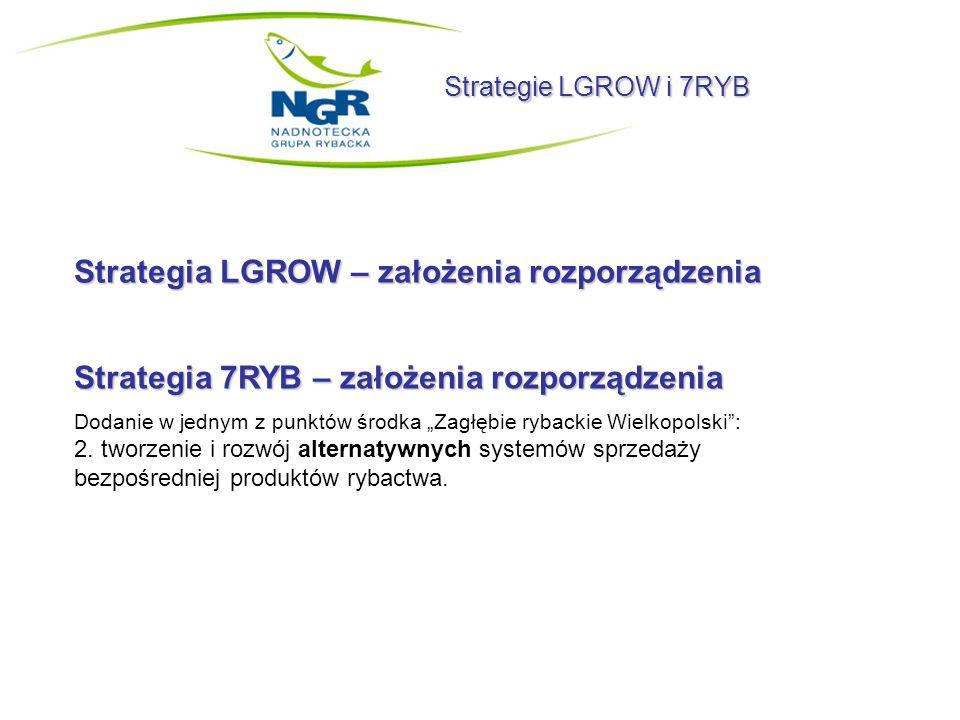 Strategie LGROW i 7RYB Strategia LGROW – założenia rozporządzenia Strategia 7RYB – założenia rozporządzenia Dodanie w jednym z punktów środka Zagłębie
