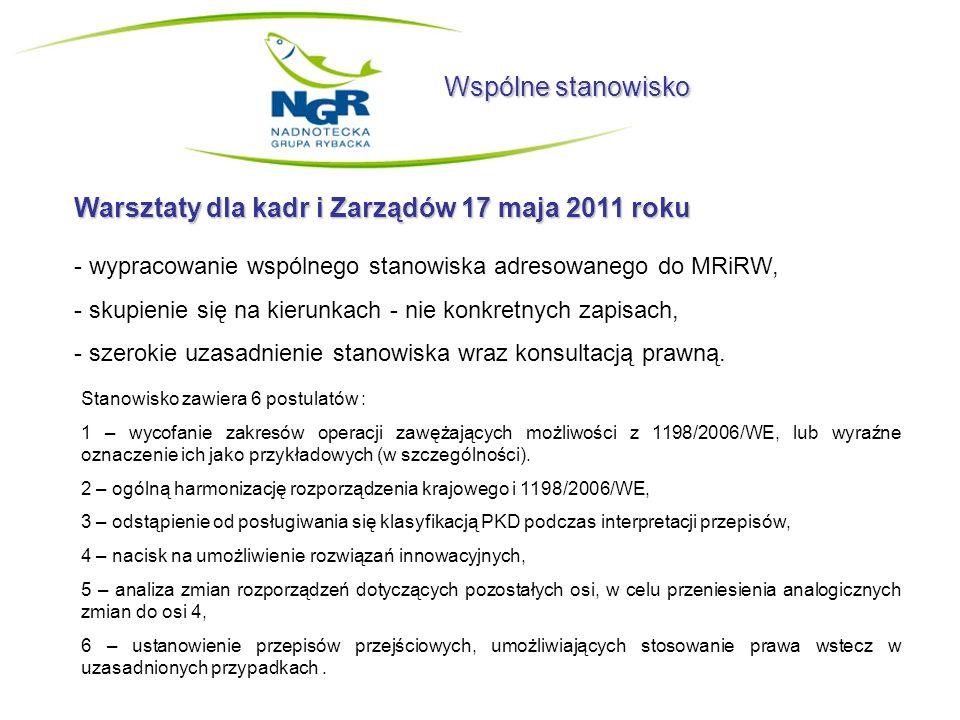 Wspólne stanowisko Warsztaty dla kadr i Zarządów 17 maja 2011 roku - wypracowanie wspólnego stanowiska adresowanego do MRiRW, - skupienie się na kieru