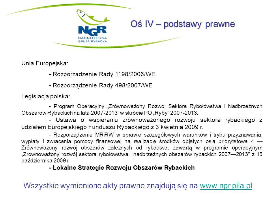 Oś IV – podstawy prawne Unia Europejska: - Rozporządzenie Rady 1198/2006/WE - Rozporządzenie Rady 498/2007/WE Legislacja polska: - Program Operacyjny