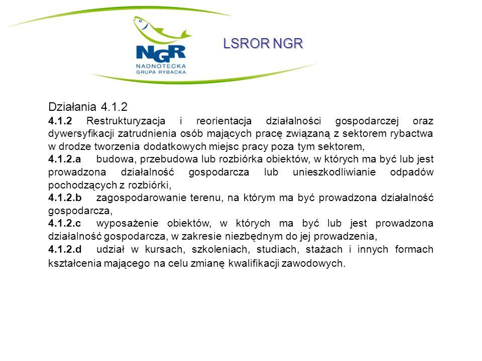 LSROR NGR 4.1.3 Podnoszenie wartości produktów rybactwa, rozwój działalności turystycznej oraz usług na rzecz społeczności zamieszkującej obszar działania NGR, 4.1.3.atworzenie i rozwój systemów sprzedaży bezpośredniej produktów rybactwa, 4.1.3.b podejmowanie i rozwój działalności gospodarczej w zakresie: - konserwacji i naprawy pojazdów samochodowych, z wyłączeniem motocykli, - naprawy i konserwacji statków i łodzi, - handlu detalicznego, z wyłączeniem handlu detalicznego pojazdami samochodowymi, - działalności usługowej związanej z wyżywieniem, - działalności związanej z oprogramowaniem i doradztwem w zakresie informatyki oraz działalności powiązanej, - działalności prawniczej, rachunkowo-księgowej i doradztwa podatkowego, - działalności w zakresie architektury i inżynierii, badań i analiz technicznych, - opieki zdrowotnej, - działalności sportowej, rozrywkowej i rekreacyjnej, - naprawy i konserwacji komputerów i artykułów użytku osobistego i domowego, - wykonywania robót budowlanych wykończeniowych.
