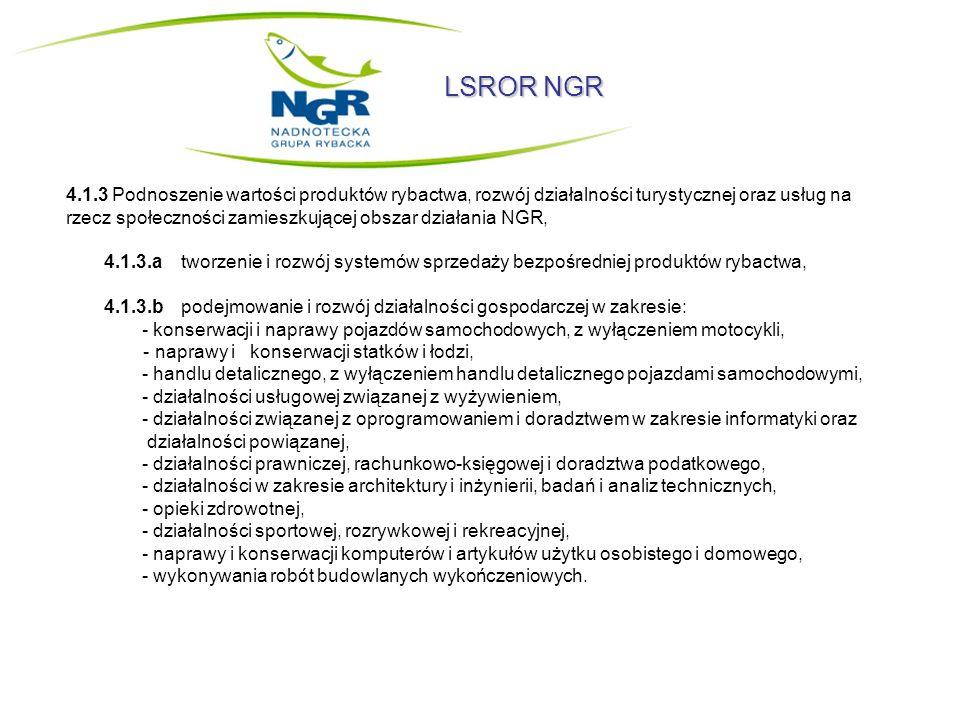 LSROR NGR 4.1.3 Podnoszenie wartości produktów rybactwa, rozwój działalności turystycznej oraz usług na rzecz społeczności zamieszkującej obszar dział