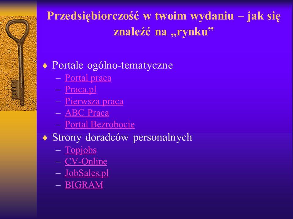 Przedsiębiorczość w twoim wydaniu – jak się znaleźć na rynku Portale ogólno-tematyczne –Portal pracaPortal praca –Praca.plPraca.pl –Pierwsza pracaPier