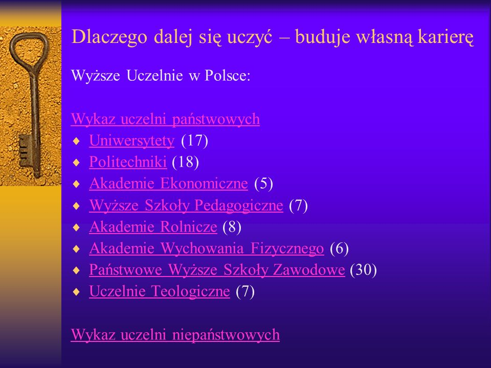Dlaczego dalej się uczyć – buduje własną karierę Wyższe Uczelnie w Polsce: Wykaz uczelni państwowych Uniwersytety (17) Uniwersytety Politechniki (18)