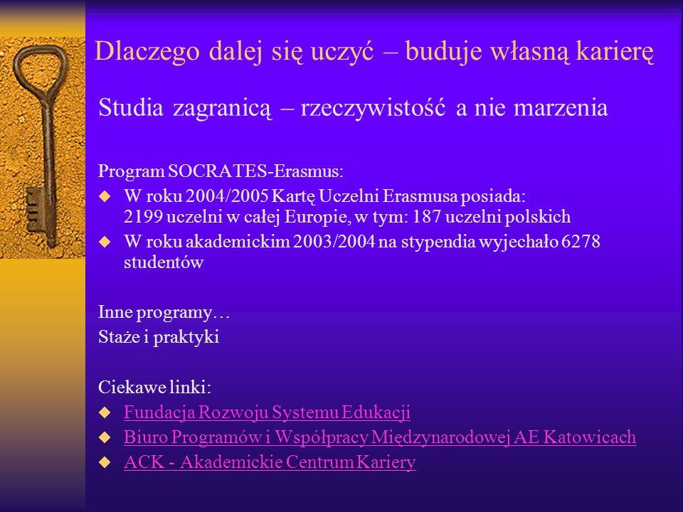 Dlaczego dalej się uczyć – buduje własną karierę Studia zagranicą – rzeczywistość a nie marzenia Program SOCRATES-Erasmus: W roku 2004/2005 Kartę Ucze