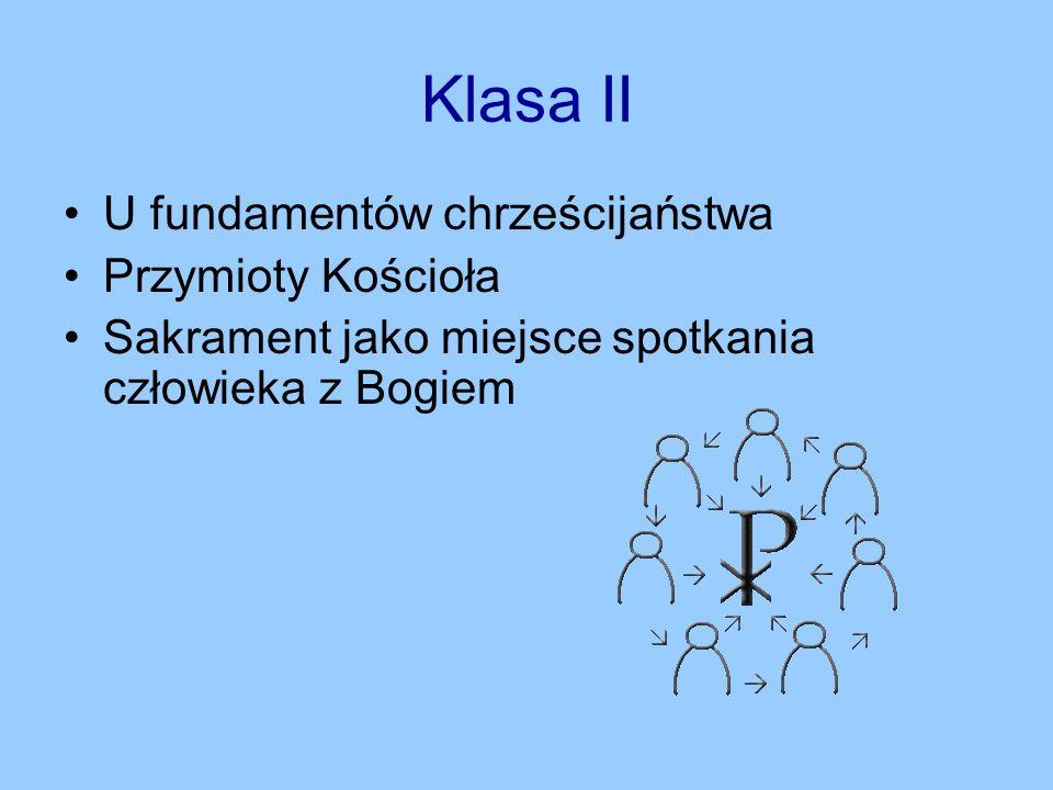 Klasa II U fundamentów chrześcijaństwa Przymioty Kościoła Sakrament jako miejsce spotkania człowieka z Bogiem