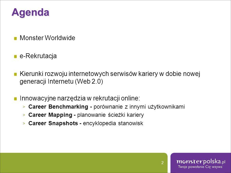 Agenda Monster Worldwide e-Rekrutacja Kierunki rozwoju internetowych serwisów kariery w dobie nowej generacji Internetu (Web 2.0) Innowacyjne narzędzi