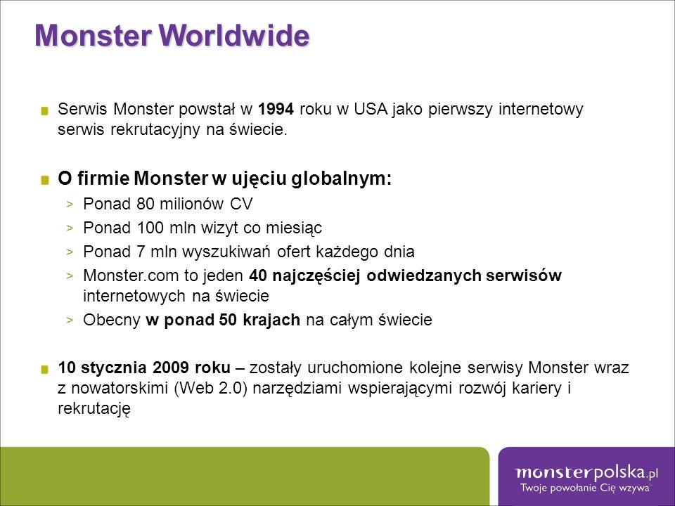 Monster Worldwide Serwis Monster powstał w 1994 roku w USA jako pierwszy internetowy serwis rekrutacyjny na świecie. O firmie Monster w ujęciu globaln