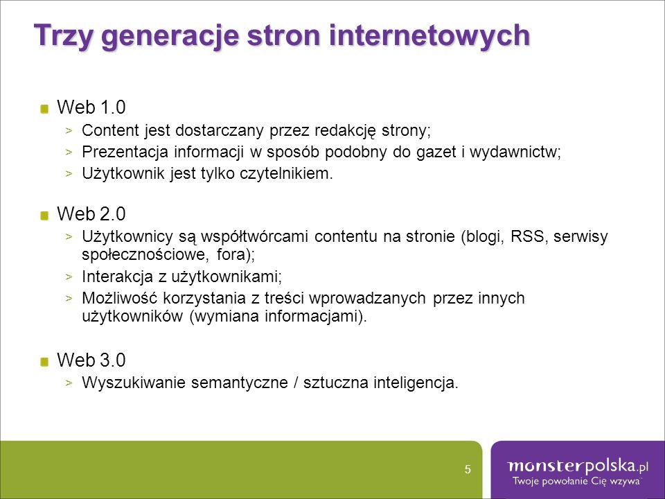 Trzy generacje stron internetowych Web 1.0 > Content jest dostarczany przez redakcję strony; > Prezentacja informacji w sposób podobny do gazet i wyda