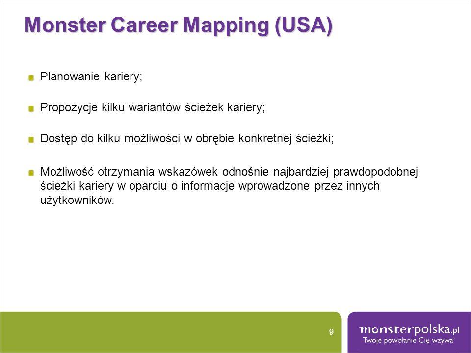Monster Career Mapping (USA) 9 Planowanie kariery; Propozycje kilku wariantów ścieżek kariery; Dostęp do kilku możliwości w obrębie konkretnej ścieżki