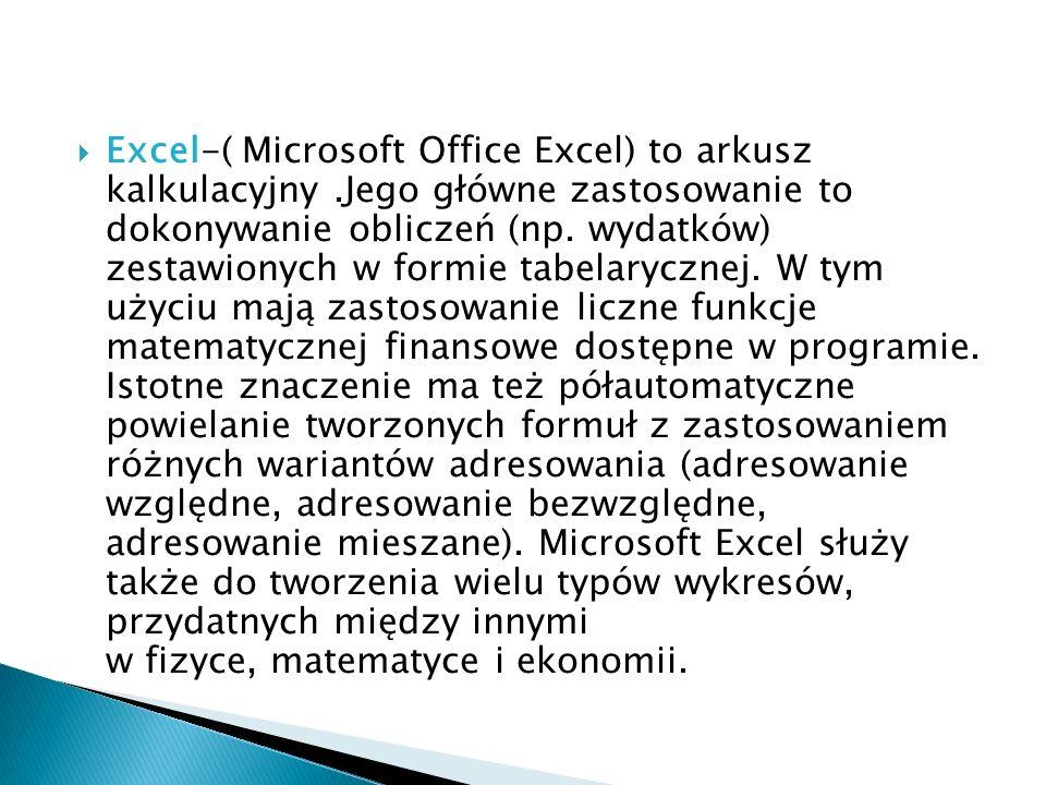 Excel-( Microsoft Office Excel) to arkusz kalkulacyjny.Jego główne zastosowanie to dokonywanie obliczeń (np. wydatków) zestawionych w formie tabelaryc