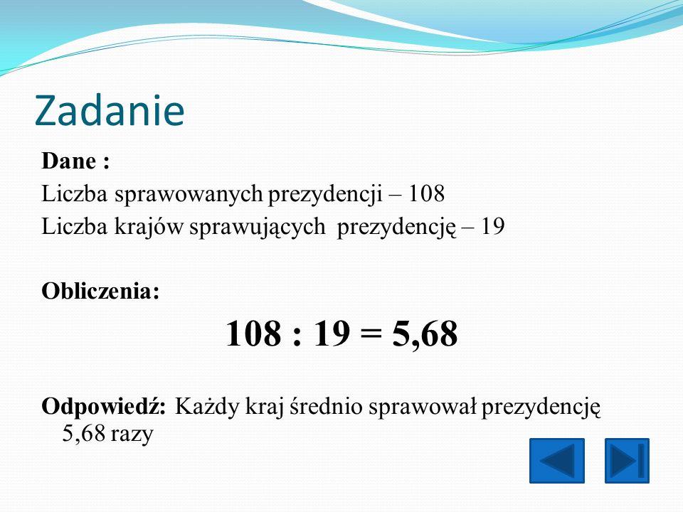 Zadanie Dane : Liczba sprawowanych prezydencji – 108 Liczba krajów sprawujących prezydencję – 19 Obliczenia: 108 : 19 = 5,68 Odpowiedź: Każdy kraj śre