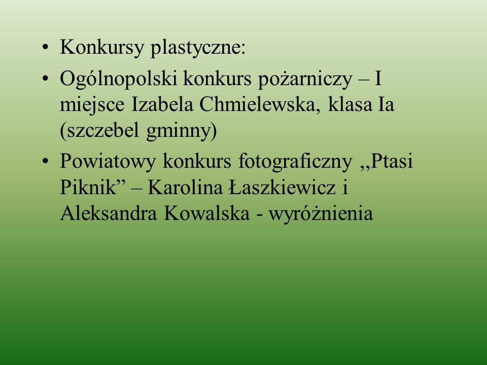 Konkursy plastyczne: Ogólnopolski konkurs pożarniczy – I miejsce Izabela Chmielewska, klasa Ia (szczebel gminny) Powiatowy konkurs fotograficzny,,Ptas