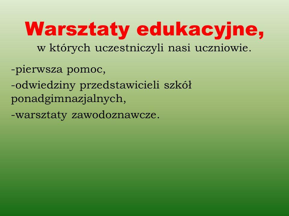 Warsztaty edukacyjne, w których uczestniczyli nasi uczniowie. -pierwsza pomoc, -odwiedziny przedstawicieli szkół ponadgimnazjalnych, -warsztaty zawodo