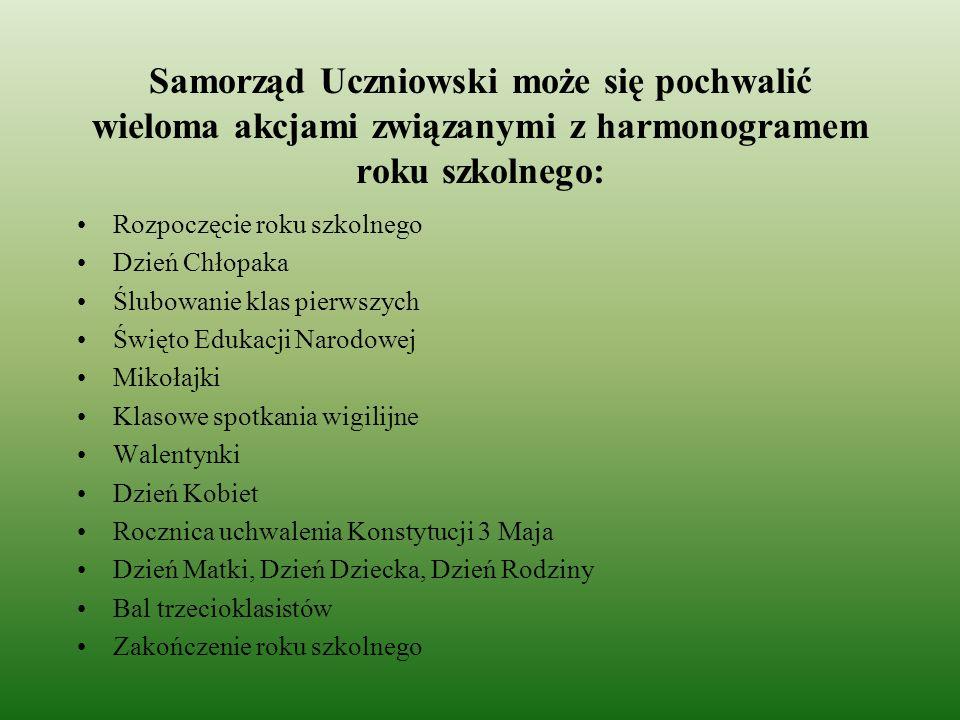 Samorząd Uczniowski może się pochwalić wieloma akcjami związanymi z harmonogramem roku szkolnego: Rozpoczęcie roku szkolnego Dzień Chłopaka Ślubowanie