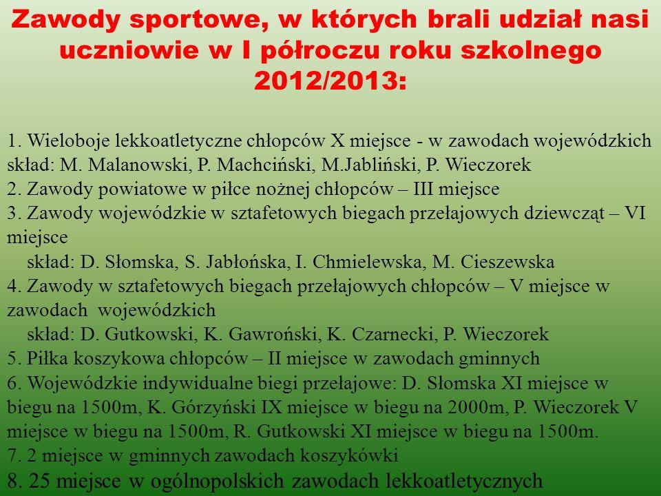 Zawody sportowe, w których brali udział nasi uczniowie w I półroczu roku szkolnego 2012/2013: 1. Wieloboje lekkoatletyczne chłopców X miejsce - w zawo