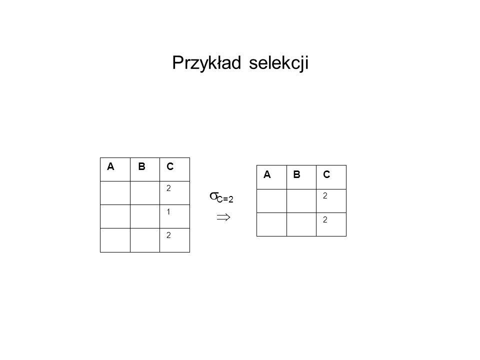Przykład selekcji A B C 2 1 2 C=2 A B C 2 2