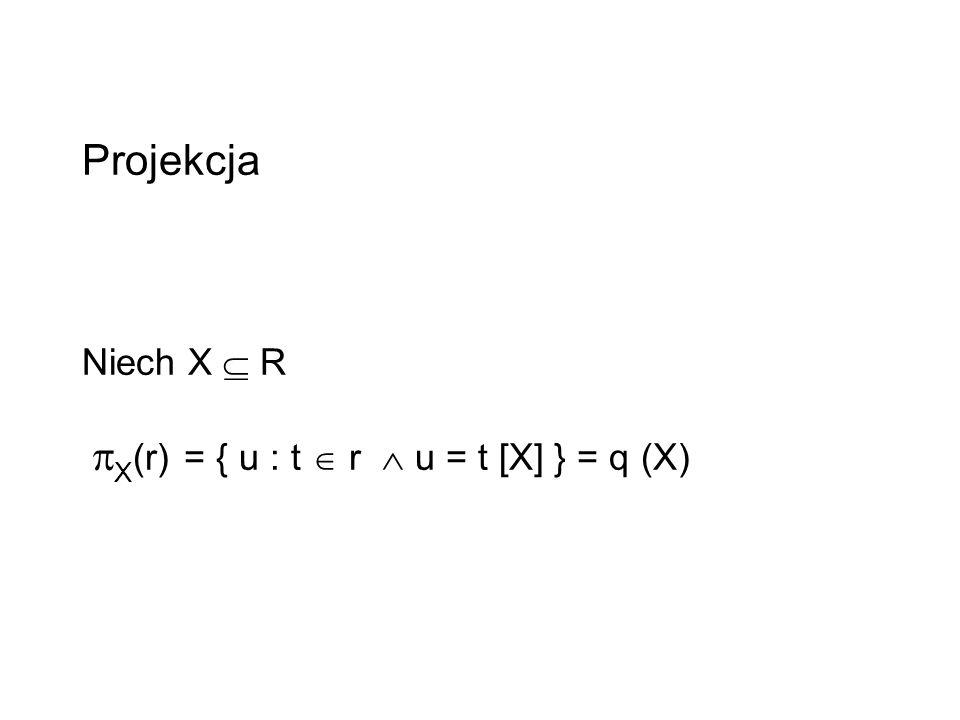 Projekcja Niech X R X (r) = { u : t r u = t [X] } = q (X)