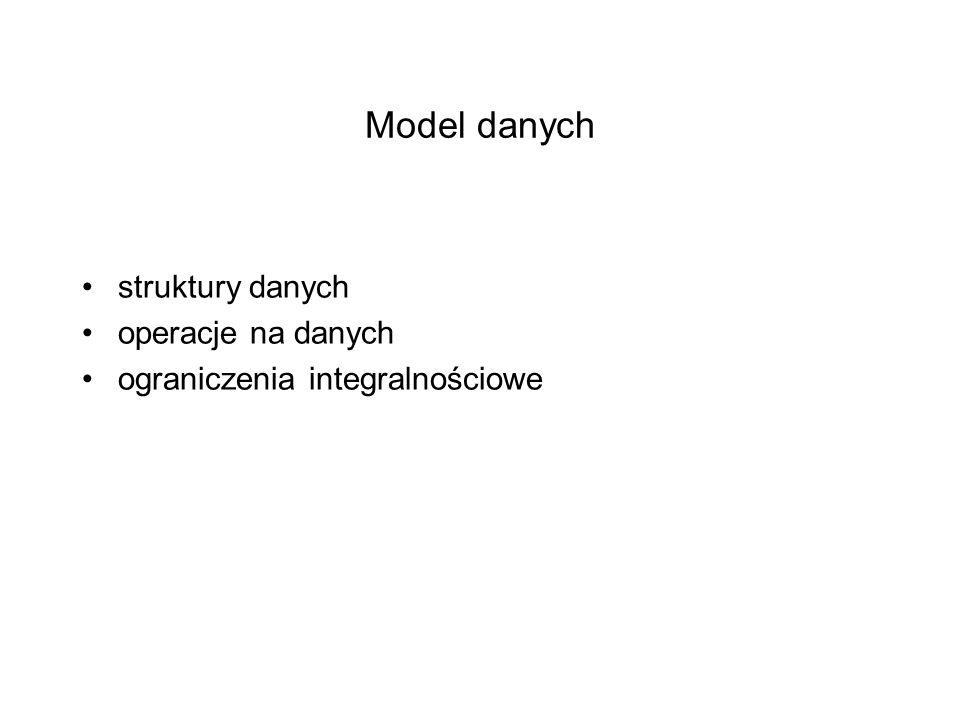 Model danych struktury danych operacje na danych ograniczenia integralnościowe