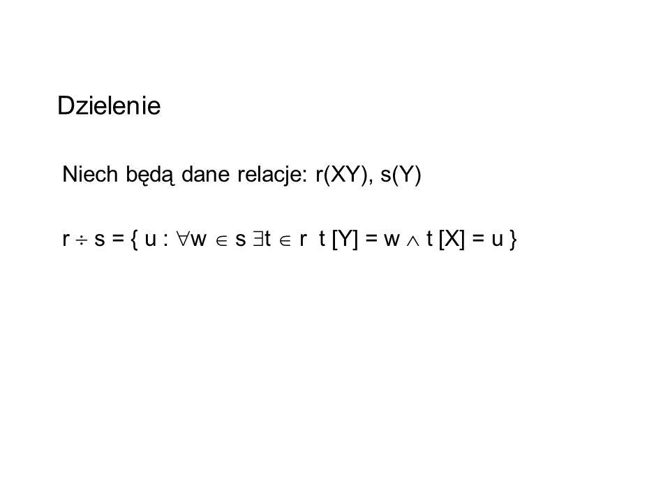 Dzielenie Niech będą dane relacje: r(XY), s(Y) r s = { u : w s t r t [Y] = w t [X] = u }