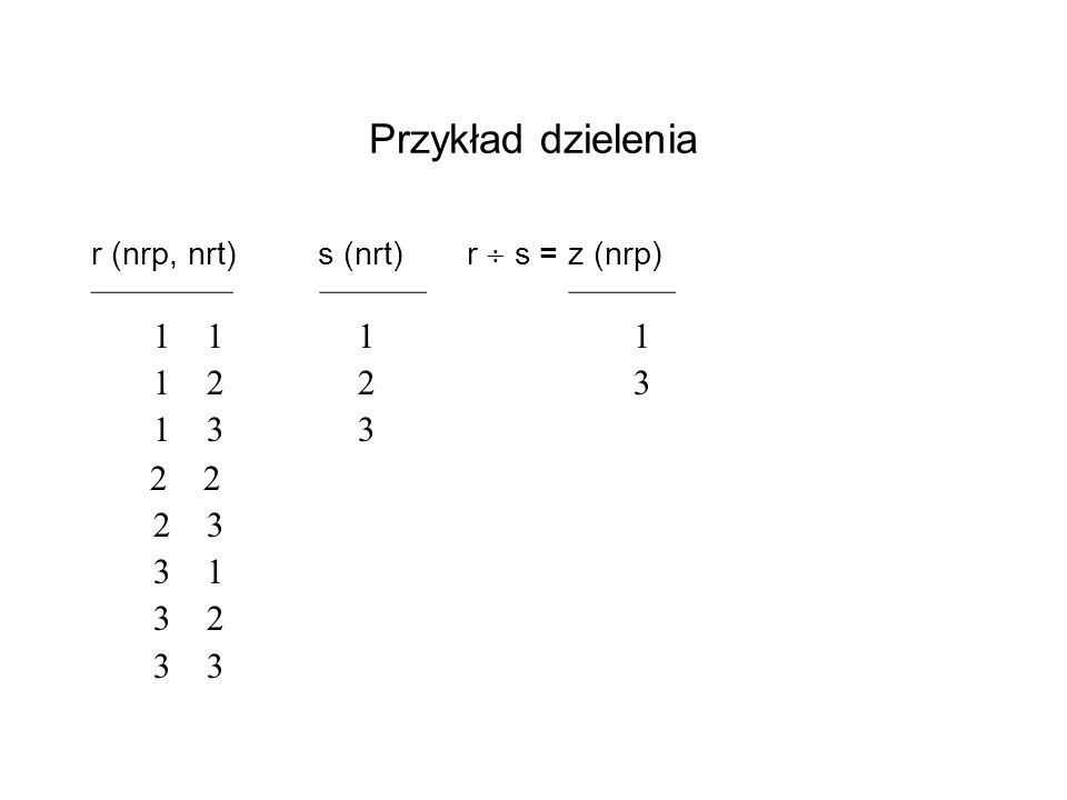 Przykład dzielenia r (nrp, nrt) s (nrt) r s = z (nrp) 1 1 1 1 1 2 2 3 1 3 3 2 2 2 3 3 1 3 2 3 3