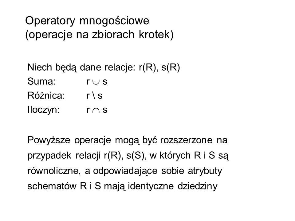 Operatory mnogościowe (operacje na zbiorach krotek) Niech będą dane relacje: r(R), s(R) Suma: r s Różnica: r \ s Iloczyn: r s Powyższe operacje mogą b