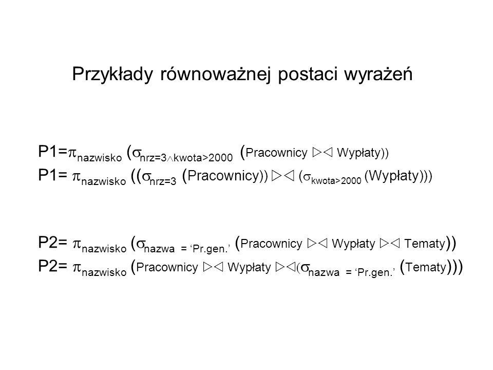 Przykłady równoważnej postaci wyrażeń P1= nazwisko ( nrz=3 kwota>2000 ( Pracownicy Wypłaty)) P1= nazwisko (( nrz=3 ( Pracownicy)) ( kwota>2000 (Wypłat