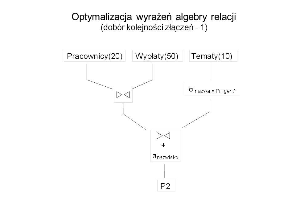 Optymalizacja wyrażeń algebry relacji (dobór kolejności złączeń - 1)
