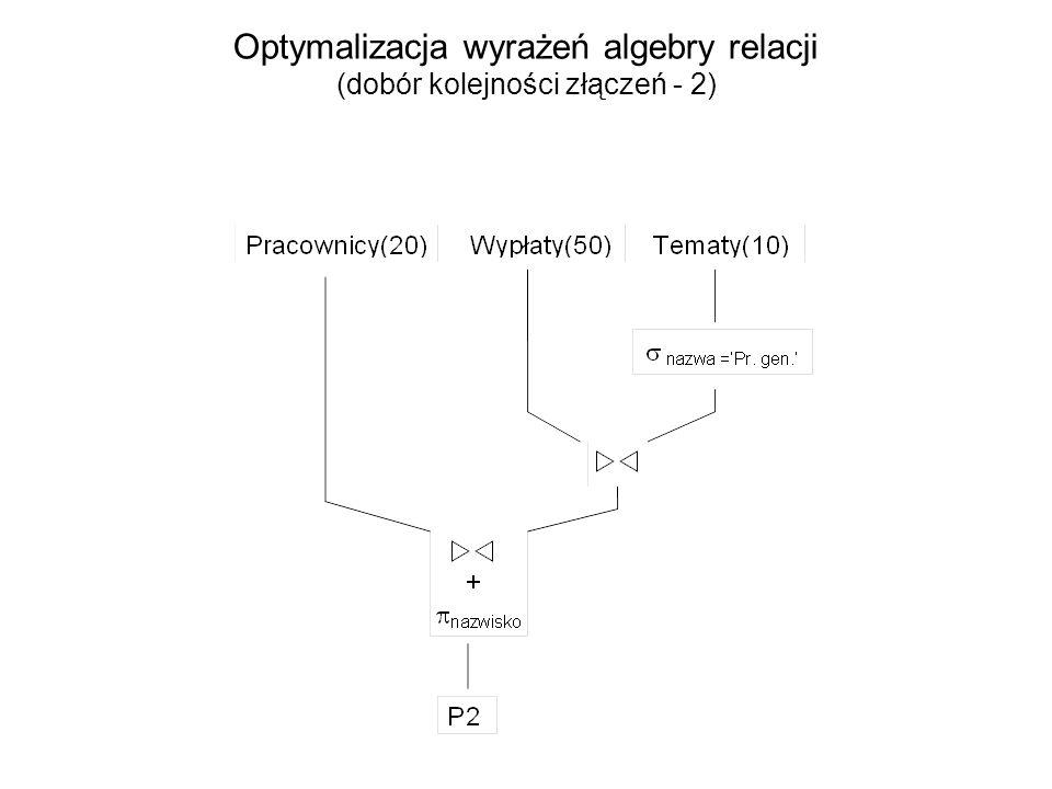 Optymalizacja wyrażeń algebry relacji (dobór kolejności złączeń - 2)