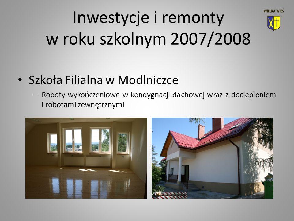 Inwestycje i remonty w roku szkolnym 2007/2008 Szkoła Filialna w Modlniczce – Roboty wykończeniowe w kondygnacji dachowej wraz z dociepleniem i robotami zewnętrznymi