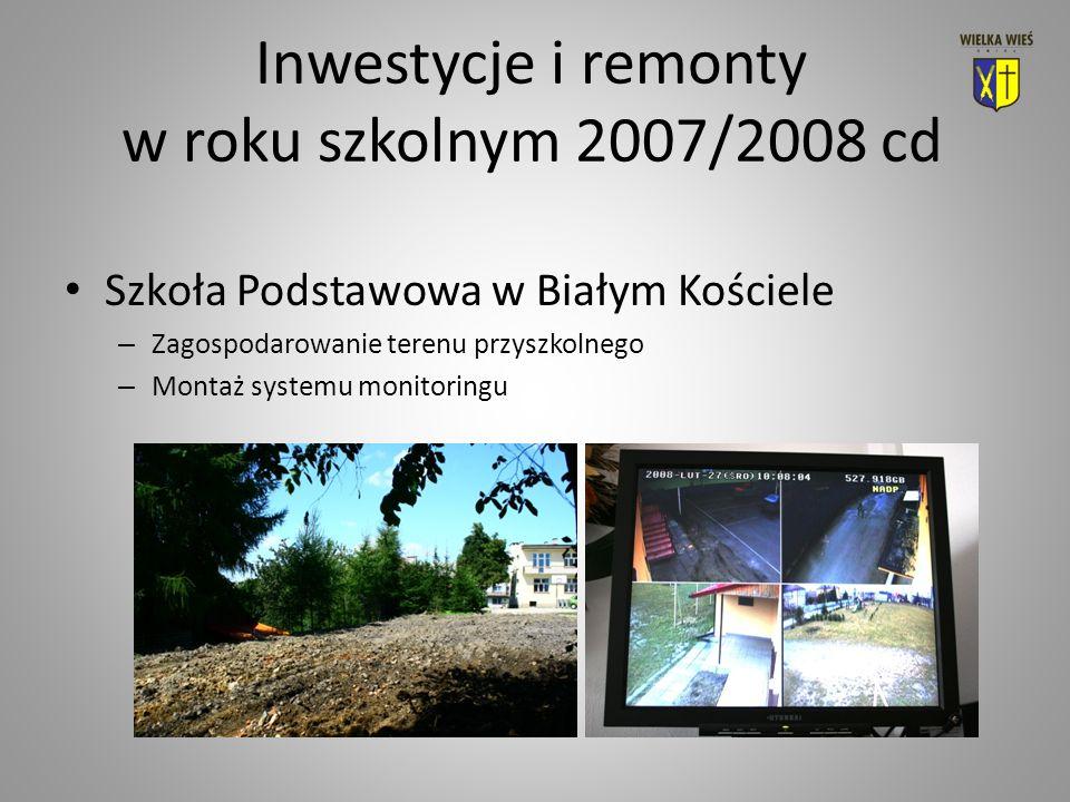 Inwestycje i remonty w roku szkolnym 2007/2008 cd Szkoła Podstawowa w Białym Kościele – Zagospodarowanie terenu przyszkolnego – Montaż systemu monitoringu